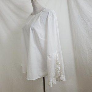 Eloquii Ruffle Cuff Blouse Shirt White Top Size 18